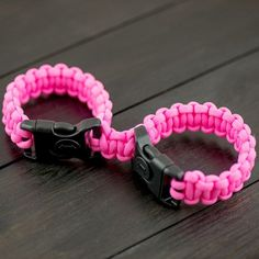 Pink Paracord Connected Cuff with plastic locking buckle. Ready Made or in a kit and make it yourself.