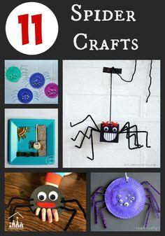 11 Spider Crafts for Kids to enjoy at Halloween. / Lustige Bastelideen mit Spinnen für Kinder zu Halloween