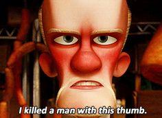 i killed a man...wiz zees thumb.