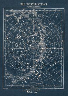 antique carte étoile Constellation vers carte par theStoryOfVintage