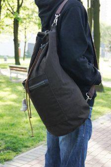 Brown Sailor Bag/ backpack/ Dark brown with grey details cotton/ Summer bag for men/Sports bag/Gym bag/ crossbody bag/ travel/beach bag T Shirt Logo Design, Rare Clothing, Fashion Bags, Mens Fashion, Leather Duffle Bag, Vintage Backpacks, Side Bags, Summer Bags, Backpack Bags