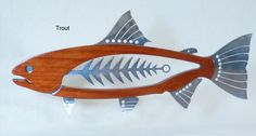 "Mahogany and Polished Metal Trout 25"".. Wall Piece.. $350 Pledge"