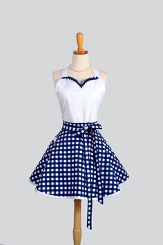 Sweetheart Apron - Retro Sexy Womens Apron Navy Blue and White Nautical Gingham Cute Full Kitchen Apron