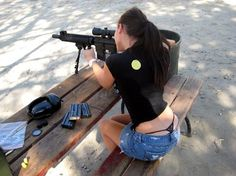 25 Hot Girls with Weapons Pictures | Tough Girl With Machine Gun