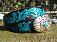 Leather Belt Embossed Leather Belt Handpainted by TheBuckingMare, $45.00