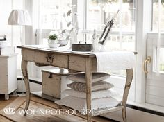 Table, Living Room. White, Grey, Black, Chippy, Shabby Chic, Whitewashed, Cottage, French Country, Rustic, Swedish decor Idea. ***Pinned by oldattic ***.