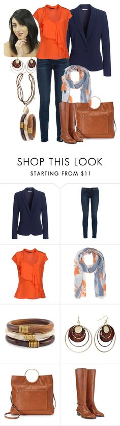 """Orange/Navy/Tan"" by manda3482 ❤ liked on Polyvore featuring Jaeger, rag & bone, GUESS by Marciano, Friendly Hunting, Calypso St. Barth, Chico's, Daisy Fuentes, LC Lauren Conrad and Fratelli Rossetti"