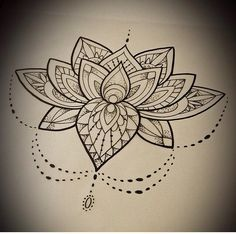 Flor de loto en zentangle.