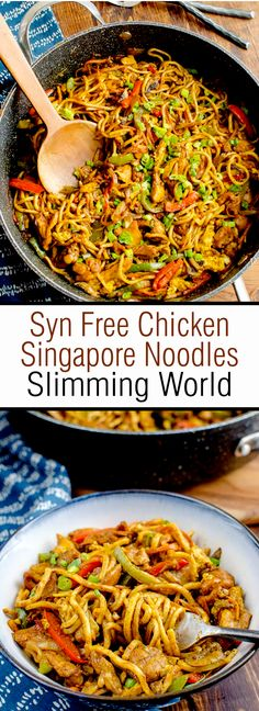 Syn Free Chicken Singapore Noodles Slimming World Delicious Syn Free Chicken Noodle Singapore - a curry flavored noodle dish that will become commonplace on your meal plan. Singapore Noodles must be one of my favorite noodle dishes. Slimming World Noodles, Slimming World Chicken Dishes, Slimming World Pasta Bake, Slimming World Dinners, Slimming World Chicken Recipes, Slimming Eats, Slimming Recipes, Easy Chicken Recipes, Slimming World Free Foods
