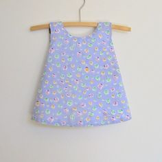 Upcycled baby dress pinny jumper size 00, 3m mauve purple lavender spots white vintage cotton lining, reversible, crossover back, handmade by BananaOrangeApple