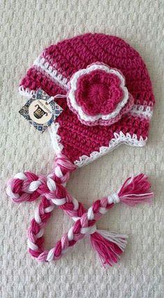 Gorro rosa tejido a crochet por Tutitas Tejedoras