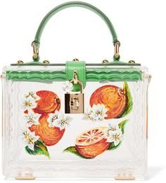 Dolce & Gabbana Dolce Lizard-effect Leather-trimmed Painted Plexiglas® Tote - Green - ShopStyle Shoulder Bags Dolce & Gabbana, Dolce And Gabbana Handbags, White Tote Bag, White Handbag, Clear Handbags, Tote Handbags, Tote Purse, Miu Miu Sandals, Clear Tote Bags
