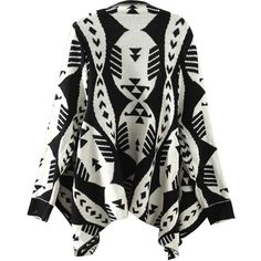black and white tribal print cardigan ($19) ❤ liked on Polyvore