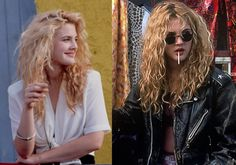 MOVIE INSPIRATION: Drew Barrymore as Ivy in Poison Ivy (1992) Short skirts, leather, nose rings and big hair #styleicon #modcloth