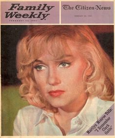 """Family Weekly - February 24th 1961, magazine from USA. Front cover photo of Marilyn Monroe as she appeared on the set of """"The Misfits"""", 1960."""