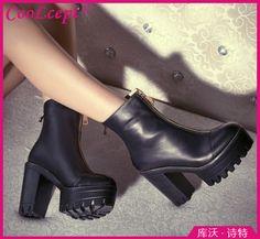 Encontrar Más Botas Información acerca de Medio tobillo CooLcept envío gratis cortos natrual cuero genuino verdadero botas mujeres bota de la nieve zapatos de tacón alto R4572 tamaño del EUR 34 39, alta calidad apretones de zapatos para nieve y hielo, China los zapatos con suelas rojas Proveedores, barato zapatos de correr de Chengdu CooLcept,ltd en Aliexpress.com
