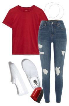 Algo sencillo para un día normal... Blusa roja, pantalón mezclilla rasgado y zapatos Vans. •A C V•