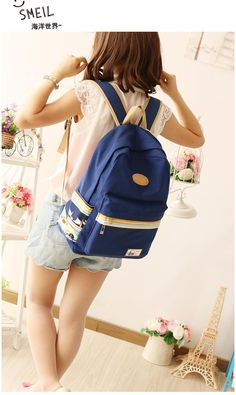 Blue Cartoon Prints Embellishment Backpacks for Girls in Japan and Korean Style Canvas