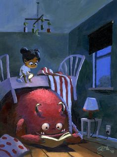 Cool monster under bed illustration: 'Bedtime Story' by Goro Fujita Character Concept, Concept Art, 3d Character, Monster Under The Bed, Cute Monsters, Scary Monsters, Bedtime Stories, Reading Stories, Reading Art