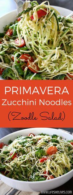 Primavera Zucchini Noodles | Zoodle Salad | Salads | Healthy Dishes