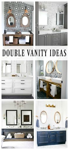 Double Vanity Ideas for your next bathroom remodel! Check out all these bold and chic vanities with tile backsplashes. Next Bathroom, Small Bathroom, Vanity Bathroom, Master Bathrooms, Bathroom Cabinets, Bathroom Inspiration, Home Decor Inspiration, Home Design, Beautiful Bathrooms