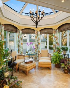 Sunroom with checked floors, floor to ceiling windows, chandelier, view of boxwoods OMG this would be a perfect add-on to any house! Description from pinterest.com. I searched for this on bing.com/images