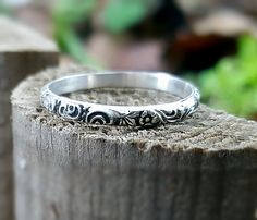 Sterling Silver Ring Wedding Band Floral Band Ring Silver Stacking Rings Simple Stack Ring 2 mm Oxidized Wide Band Dainty Engagement Ring by INNOCENTIJEWELRY on Etsy