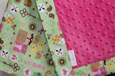 Snuggle Blanket - xoxo Hoot - pram size minky baby blanket $40