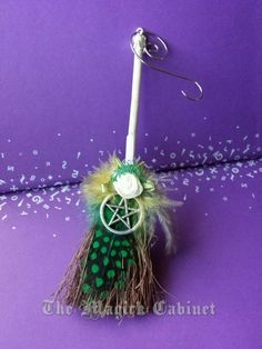 Green Home Blessing Besom, Witch's Broom, Happy Home Besom, Ornament, Witch Broom, Happy Broom, Wicca, Pagan, Yule, Samhain, Halloween