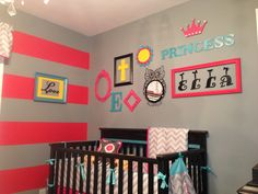 Pink, Grey, teal & yellow nursery, gallery wall and striped wall.
