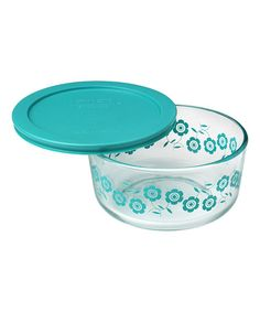 Love this Teal Flowers 4-Cup Food Storage Container on #zulily! #zulilyfinds