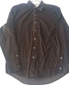 Mens MICHAEL Michael KORS Men's Snap Button Cotton Corduroy Brown Shirt Size L #MichaelKors #ButtonFront