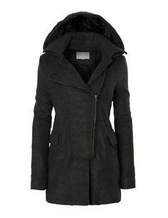 LE3NO Womens Fleece Double Breasted Pea Coat Jacket with Detachable Hoodie