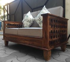 Four square is appreciated by our customer`s and got really popular in really short span of time. This sofa is crafted by skilled craftsmen and polished with perfection. Backrest can be tilted to make it sofa cum bed (optional) < Indian Living Rooms, Wood Sofa, Living Room Sofa, Wooden Furniture, Sofa Set, Four Square, Craftsman, Solid Wood, Toddler Bed