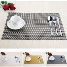 Modern PVC kitchen dinning Placemats for Table mat manteles cup mats coaster water proof table cloth  sc 1 st  Pinterest & UESH-4 pcs Silicone Coasters Lace Sets Tea Cup Mat Flower Doilies ...