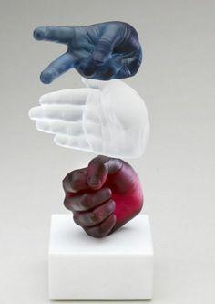 """""""Rock, Paper, Scissors"""" Glass Sculpture -- Wrightson & Platt:"""