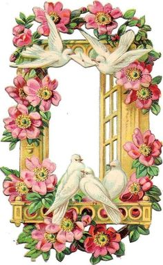 Doves on rosy window balcony - Victorian Die Cut - Victorian Scrap - Vintage Ephemera, Vintage Cards, Vintage Paper, Vintage Pictures, Vintage Images, Vintage Flowers, Vintage Floral, Photo Souvenir, Embroidery Transfers