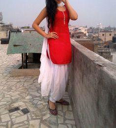 Red and white suit Patiala Dress, Patiala Salwar Suits, Punjabi Dress, Sharara, Churidar, Patiala Suit Designs, Salwar Designs, Dress Designs, Designer Punjabi Suits
