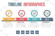 Timeline Infographics by PixMarket on @creativemarket