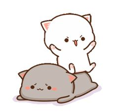 Cute Anime Cat, Cute Bunny Cartoon, Cute Kawaii Animals, Cute Cartoon Pictures, Cute Love Pictures, Cute Love Cartoons, Cute Cat Gif, Cute Love Gif, Cute Bear Drawings