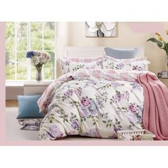 pink-purple rose cotton bedding set: duvet cover set, twin/full/queen/king/cal k Purple Bedding Sets, Cotton Bedding Sets, Floral Bedding, Cotton Duvet, Duvet Bedding Sets, Luxury Bedding Sets, Queen Bedding, Yves Delorme, Bedding Sets Online