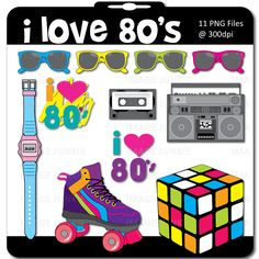Image detail for -80's Theme Digital Scrapbook Pack includes a roller skate, Rubix Cube ...