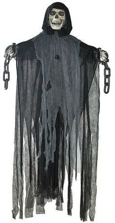 5Ft Animated Hanging Grim Reaper Skull Halloween Prop Home Decor Shackles Chains #Unbranded