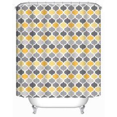 Shop for Yellow Damask Trellis Patterns Decorative Bath Curtain. Get free delivery On EVERYTHING* Overstock - Your Online Shower Curtains & Accessories Store! Grey Curtains, Fabric Shower Curtains, Bathroom Shower Curtains, Moroccan Fabric, Trellis Pattern, Moroccan Design, Shower Cleaner, Damask, Yellow