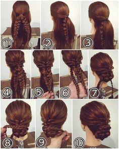 """ถูกใจ 446 คน, ความคิดเห็น 1 รายการ - nest hairsalon (@nest_hairsalon) บน Instagram: """"三つ編みシニヨン  ① トップを結びます。結んだ毛束を2本の三つ編みにします。 ② 両サイドの髪を後ろで結びます。 ③  耳後ろの髪も両側からとり後ろで結びます。 ④…"""""""