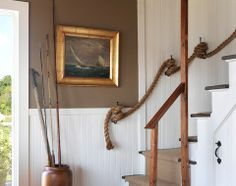 Coastal Cottage - traditional - staircase - providence - by Kate Jackson Design Beach Cottage Decor, Coastal Cottage, Coastal Homes, Coastal Decor, Coastal Style, Coastal Entryway, Coastal Furniture, Coastal Farmhouse, Rope Decor