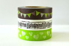 Cute set of 3 japanese washi tape - perfect for party decoration, scrapbooking, art journaling, tags, and card making projects. $8.25