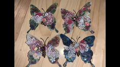 Butterfly Embellishment DIY Christmas Ornaments To Make, Diy Christmas Ornaments, Diy Arts And Crafts, Paper Crafts, Do Your Own Thing, Craft Work, Jewerly, Embellishments, Recycling
