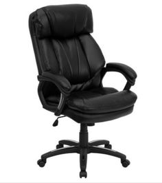 Contemporary Executive Chair Wing Back Design Office Furniture Black Leather New