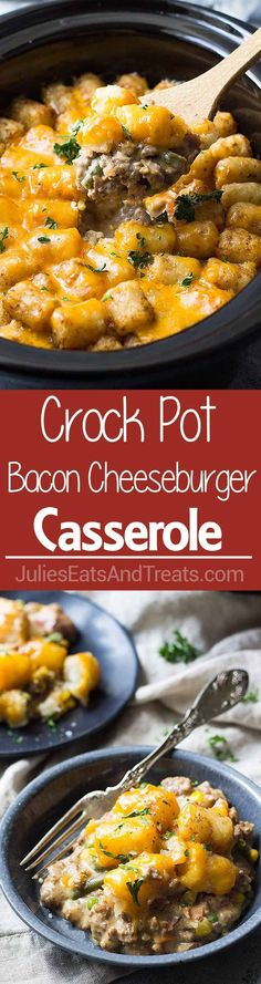 Crock Pot Bacon Cheeseburger Tater Tot Casserole Crock Pot Bacon Cheeseburger Tater Tot Casserole ~ Easy Slow Cooker Twist on a Classic Tater Tot Casserole! It's creamy, cheesy and comfort food made easy! Crock Pot Food, Crockpot Dishes, Crock Pot Slow Cooker, Slow Cooker Recipes, Beef Recipes, Cooking Recipes, Crockpot Meals, Dog Recipes, Fall Recipes